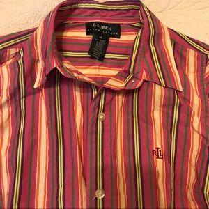 Sleeveless button down Ralph Lauren striped shirt